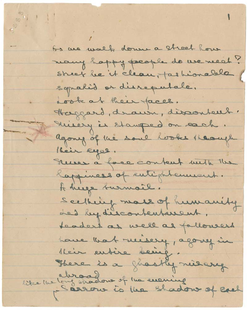 Handwritten speech given at Champs-Elysees Theater, 1921 - CLICK TO EXPAND