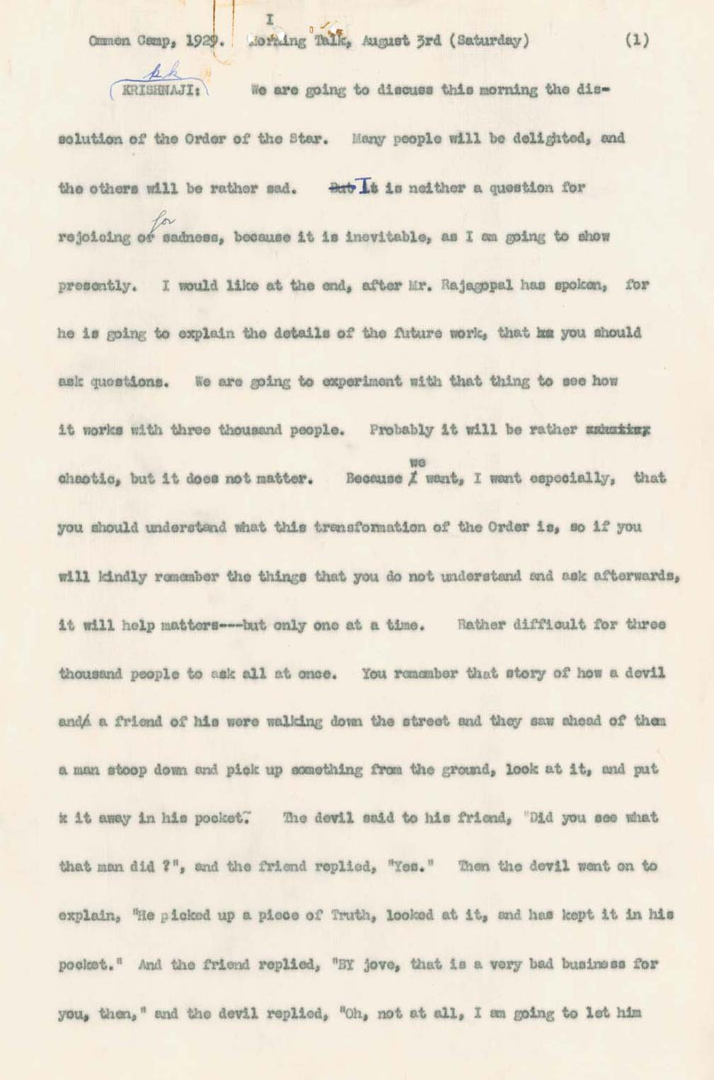 Typescripts from Stenographers notes - Speech - CLICK TO EXPAND