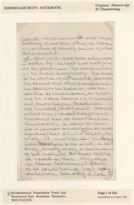 First Page of Krishnamurti's Notebook Original Manuscript - CLICK TO ENLARGE