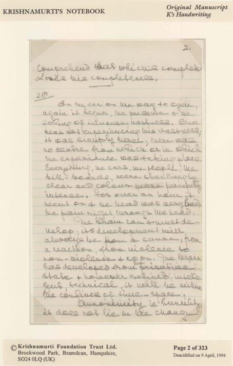 Second Page of Krishnamurti's Notebook Original Manuscript - CLICK TO ENLARGE